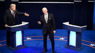 """This image released by NBC shows Alec Baldwin as Donald Trump, left, and Jim Carrey as Joe Biden during the """"First Debate"""" Cold Open on """"Saturday Night Live"""" in New York on Oct. 3, 2020."""