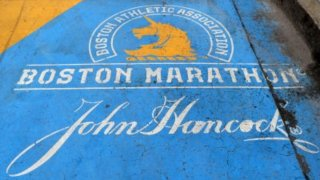 This April 20, 2020, file photo shows a view of the Boston Marathon finish line in Boston, Massachusetts. The race was delayed to the fall before being cancelled due to the coronavirus pandemic.