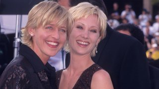 In this Sept. 14, 1997, file photo, comedienne Ellen DeGeneres and actress Anne Heche attend the 49th Annual Primetime Emmy Awards at the Pasadena Civic Auditorium in Pasadena, California.