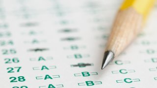 A multiple choice test and pencil