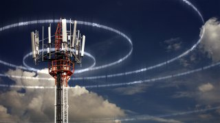 A cell phone tower transmitting information