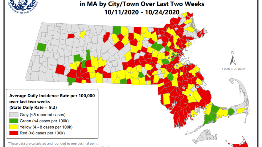 Mass. COVID hot spot map