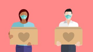 An illustration showing people volunteering to help others in need with boxes of donations during the COVID-19 coronavirus pandemic