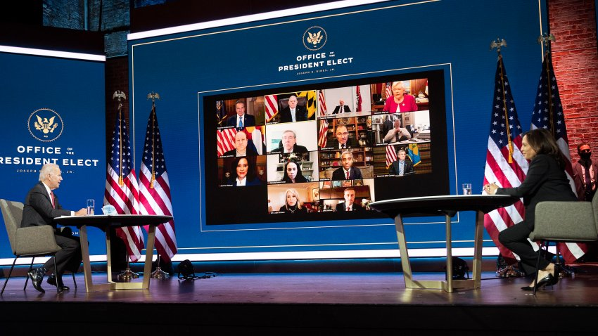 President-elect Joe Biden and Vice President-elect Kamala Harris speak virtually with the National Governors Association's executive committee