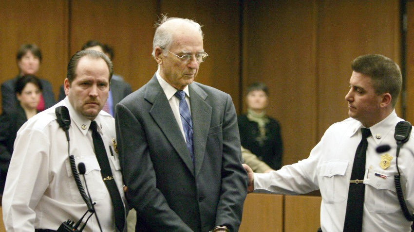 Defrocked priest Paul Shanley, a central figure in the Boston Archdiocese clergy sex abuse scandal, is led from court in handcuffs following his sentencing in Middlesex Superior Court February 15, 2005 in Cambridge, Massachusetts. Shanley was sentenced 12 to 15 years in prison for raping a boy repeatedly in the 1980s.