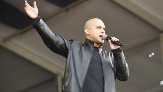 NEW ORLEANS, LA - MAY 04: Irvin Mayfield performs during the 2017 New Orleans Jazz & Heritage Festival at Fair Grounds Race Course on May 4, 2017 in New Orleans, Louisiana.