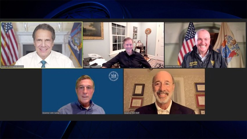The governors of New York, Connecticut, New Jersey, Rhode Island, Pennsylvania and Delaware on a video call about coronavirus policy.