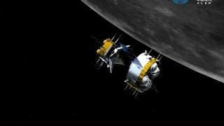 This graphic simulation image provided by China National Space Administration shows the orbiter and returner combination of China's Chang'e-5 probe after its separation from the ascender, at the Beijing Aerospace Control Center (BACC) in Beijing Sunday, Dec. 6, 2020. The Chinese probe that landed on the moon transferred rocks to an orbiter Sunday in preparation for returning samples of the lunar surface to Earth for the first time in almost 45 years, the country's space agency announced.