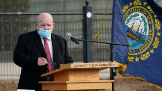 New Hampshire House Speaker Dick Hinch speaks during an outdoor legislative session at the University of New Hampshire in Durham, New Hampshire, Dec. 2, 2020. Hinch died just a week after he was sworn in as leader of the state's newly Republican-led Legislature. He was 71.