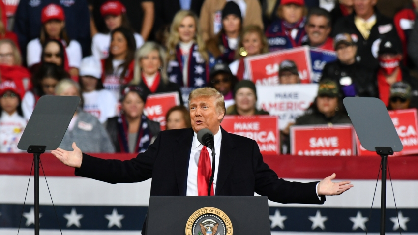 U.S. President Donald J. Trump addresses the crowd with the Republican National Committee hosts a Victory Rally with Senator David Perdue and Senator Kelly Loeffler in Valdosta, GA United States on December 5, 2020.