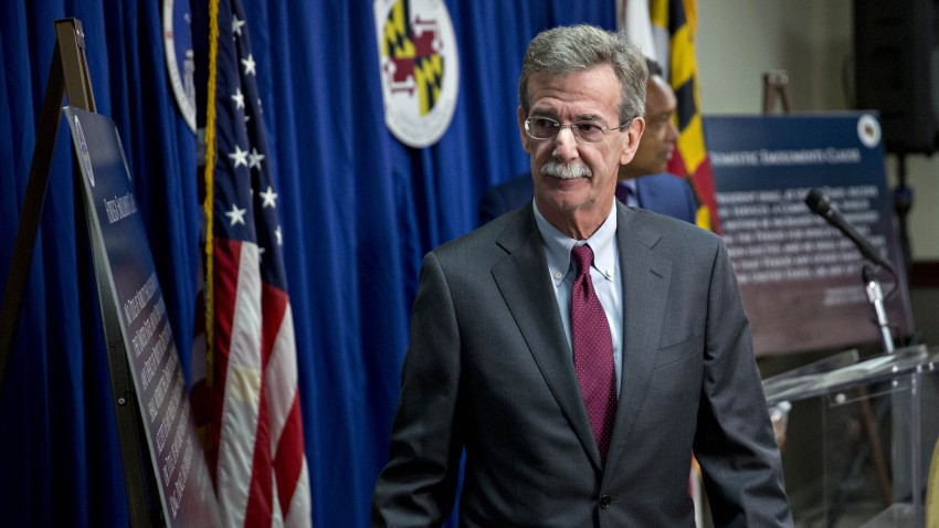 Brian Frosh, Maryland attorney general, exits after a news conference in Washington, D.C., U.S., on Monday, June 12, 2017. President Donald Trump's continued financial stake in his global business empire, violates the U.S. Constitution's prohibition on profiting from his office, Maryland and the District of Columbia said in a federal lawsuit.