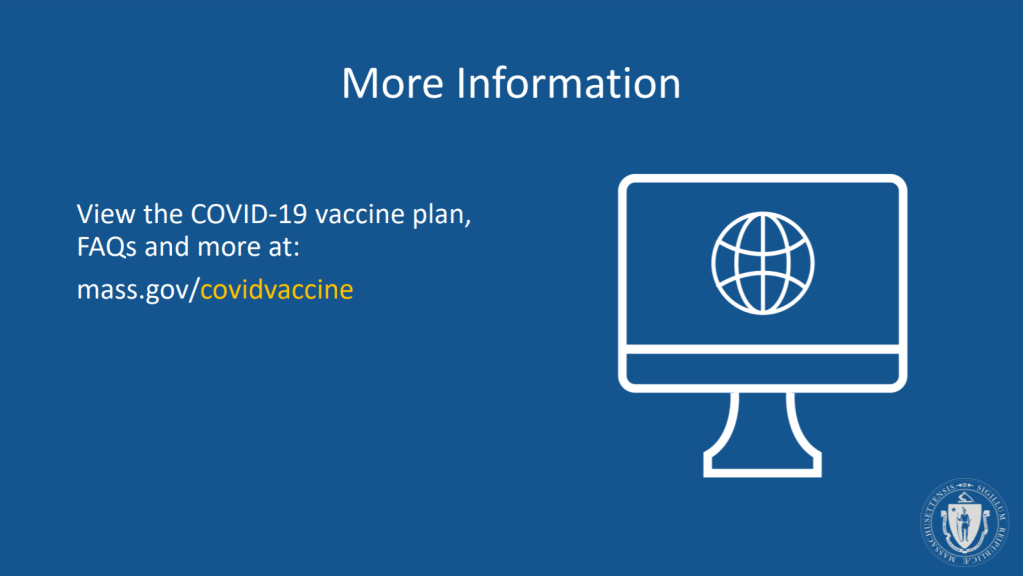 Where can I learn about the coronavirus vaccine in Massachusetts?