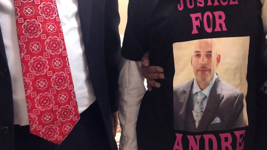 Andre Hill, fatally shot by Columbus police on Dec. 22, is memorialized on a shirt worn by his daughter, Karissa Hill, on Dec. 31, 2020, in Columbus, Ohio.