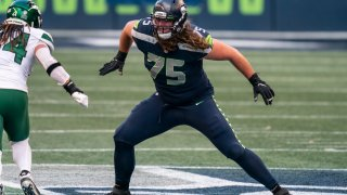 Seattle Seahawks offensive lineman Chad Wheeler is pictured during the second half of an NFL football gamem against the New York Jets, Sunday, Dec. 13, 2020, in Seattle. The Seahawks won 40-3.