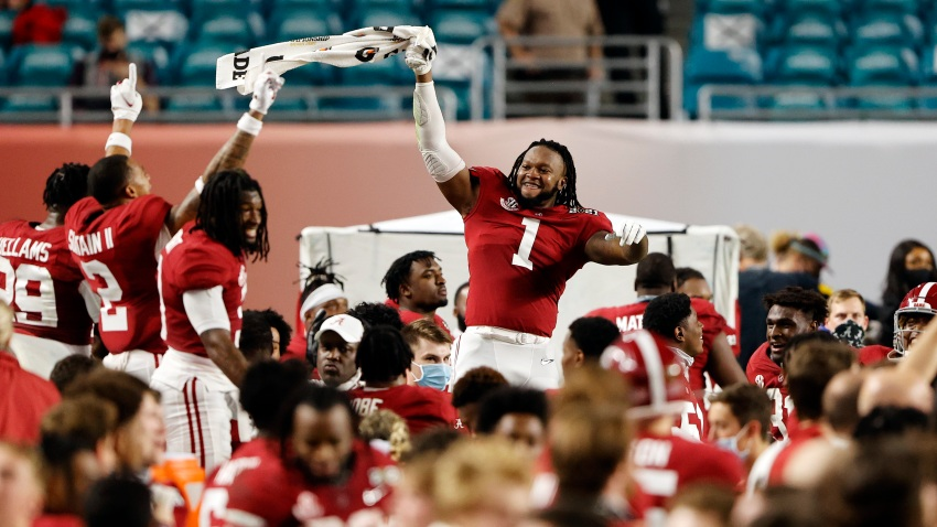 Ben Davis #1 of the Alabama Crimson Tide celebrates as the Alabama Crimson Tide defeat the Ohio State Buckeyes 52-24 in the College Football Playoff National Championship game at Hard Rock Stadium on January 11, 2021 in Miami Gardens, Florida.