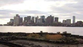 Boston Skyline Climate Change