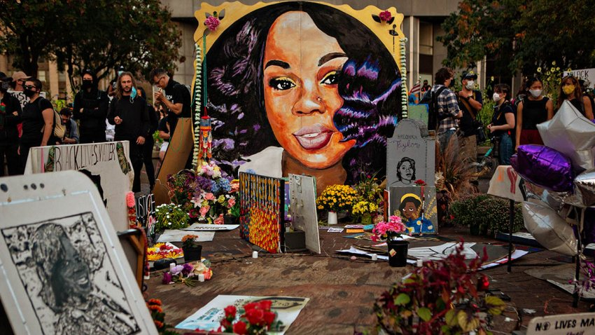 A memorial for Breonna Taylor in downtown Louisville, Sept. 26, 2020.
