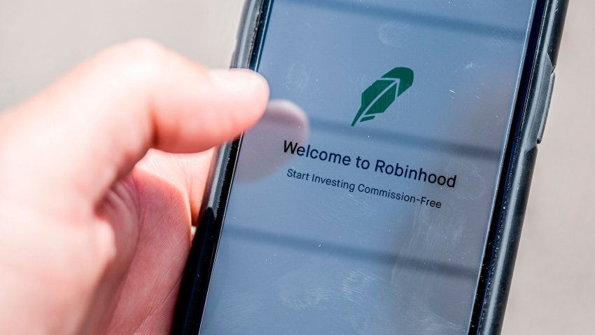 The Robinhood vestment app is see on a smartphone in this photo illustration on June 24, 2020 in Washington,DC. -