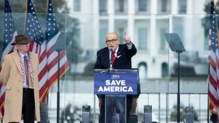 In this Jan. 6, 2021, file photo, President Donald Trump's personal lawyer Rudy Giuliani speaks to supporters from The Ellipse near the White House in Washington, D.C.