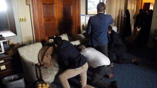 capitol staffers barricade selves