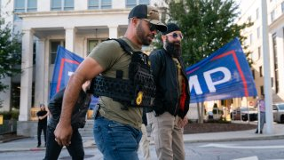 "Enrique Tarrio, leader of the Proud Boys, a far-right group, is seen at a ""Stop the Steal"" rally against the results of the U.S. Presidential election outside the Georgia State Capitol on November 18, 2020 in Atlanta, Georgia."
