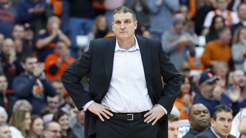 Head coach Jim Christian of the Boston College Eagles looks on against the Syracuse Orange during the second half at the Carrier Dome on February 9, 2019, in Syracuse, New York. Syracuse defeated Boston College 67-56.