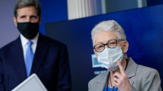 National Climate Advisor Gina McCarthy and Special Presidential Envoy for Climate John Kerry answer questions during a press briefing at the White House on January 27, 2021 in Washington, DC.