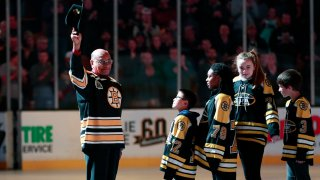 In this Jan. 17, 2018, file photo, Boston Bruins legend Willie O'Ree is honored before a game between the Bruins and the Montreal Canadiens at Boston's TD Garden.