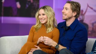 "In this Feb. 25, 2019, file photo, Kristen Bell and Dax Shepard appear on ""TODAY."""
