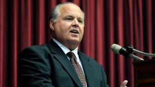 FILE - In this May 14, 2012 file photo, Rush Limbaugh speaks during a ceremony inducting him into the Hall of Famous Missourians in the state Capitol in Jefferson City, Mo.