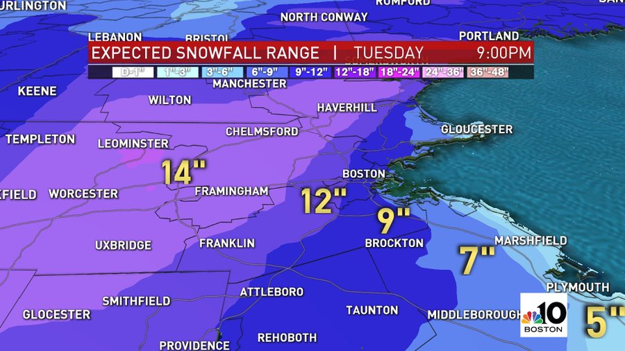 Expected snowfall totals across Boston, Massachusetts, from a winter storm hitting Monday and Tuesday.