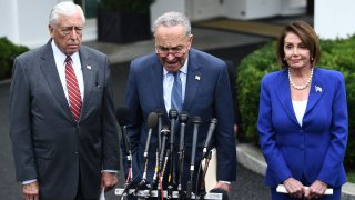 Speaker of the House Nancy Pelosi (R), Senate Minority Leader Chuck Schumer (D-NY) (C) and Representative Steny Hoyer