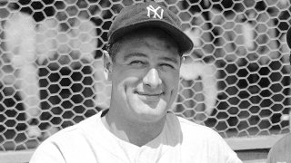 FILE - New York Yankees' Lou Gehrig poses at a spring training game in St. Petersburg, Fla., in this March 16, 1935, file photo. Major League Baseball will hold its first Lou Gehrig Day on June 2, 2021, adding Gehrig to Jackie Robinson and Roberto Clemente on the short list of players honored throughout the big leagues.