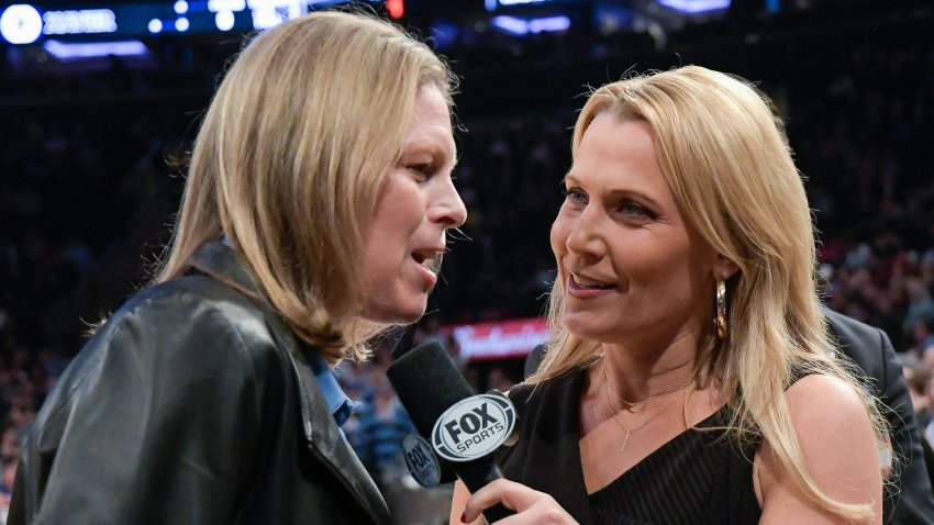 NEW YORK, NY - MARCH 15: Fox Sports reporter Lisa Byington, right, interviews Big East Commissioner Val Ackerman during the semifinals of the Big East Basketball Tournament at Madison Square Garden on March 15, 2019 in New York City.