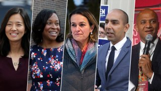 From left: Boston mayoral candidates Michelle Wu, Andrea Campbell, Annissa Essaibi-George, State Rep. Jon Santiago and former Economic Development Chief John Barros.