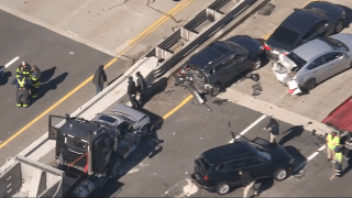 A crash tied up traffic on Route 1 in Revere, Massachusetts, on Monday, March 15, 2021.