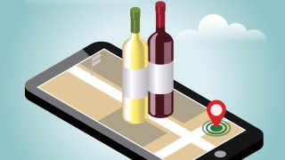 An illustration of wine being delivered over a cellphone