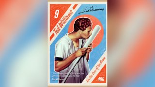 This image created by Brazilian illustrator Andre Maciel, known as Black Madre, shows a copy of one of the nine non-fungible token cards of baseball Hall of Famer Ted Williams to go on auction April 19-24, 2021. Non-fungible tokens can be works of art, video clips or even tweets or news articles tied to a digital record — or blockchain — that allows the collector to prove ownership.