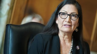 WASHINGTON, DC - FEBRUARY 24: Rep. Debra Haaland (D-NM), President Joe Biden's nominee for Secretary of the Interior, testifies during her confirmation hearing before the Senate Committee on Energy and Natural Resource, at the U.S. Capitol on February 24, 2021 in Washington, DC. Rep. Haaland's opposition to fracking and early endorsement of the Green New Deal has made her one of President Biden's more controversial cabinet nominees.