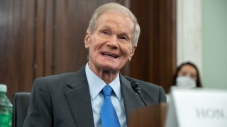 WASHINGTON, DC - APRIL 21: Former US Senator Bill Nelson, nominee to be administrator of NASA, speaks during a Senate Committee on Commerce, Science, and Transportation confirmation hearing on Capitol Hill on April 21, 2021 in Washington, DC. Nelson was a senator representing Florida from 2001-2019.