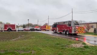 Emergency services vehicles at a hazmat scene in Pawtucket, Rhode Island