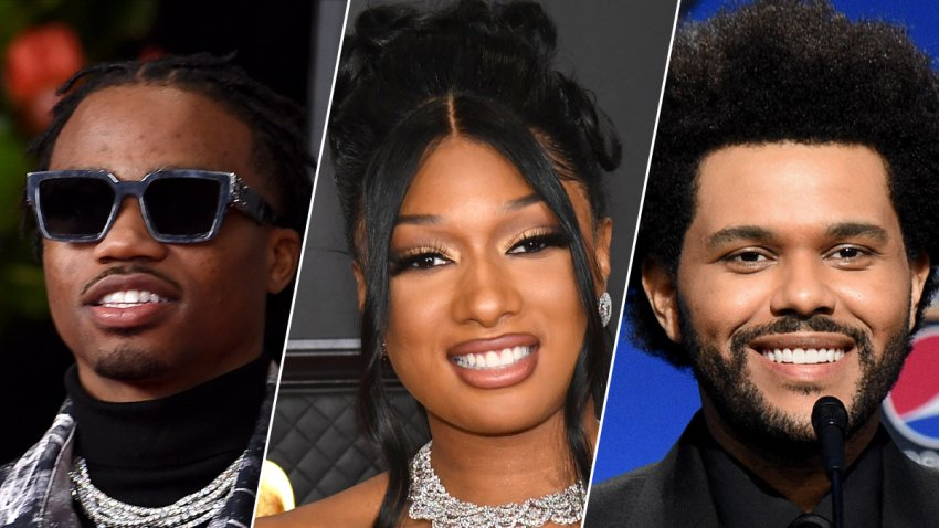 From left: Roddy Ricch, Megan Thee Stallion and The Weeknd