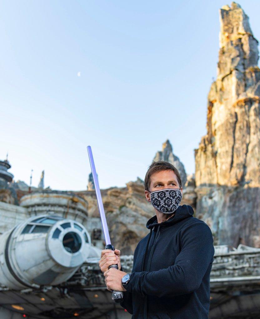 NFL superstar Tom Brady visits Star Wars: Galaxy's Edge inside Disney's Hollywood Studios at Walt Disney World Resort in Lake Buena Vista, Florida, April 5, 2021.