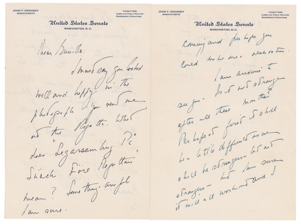 This photo shows a love letter that John F. Kennedy wrote to a Swedish paramour a few years after he married Jacqueline Bouvier, according to Boston-based RR Auction. The auction house says Kennedy wrote letters to aristocrat Gunilla von Post in 1955 and 1956, and announced, Wednesday, May 5, 2021, that they will be going up for auction.