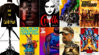 This combination photo shows poster art for upcoming summer films.