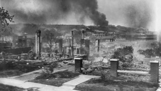 Smoldering Ruins of African American's Homes following Race Riots, Tulsa, Oklahoma, USA,