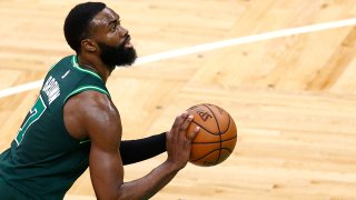 Jaylen Brown of the Boston Celtics shoots a free throw during the game against the Charlotte Hornets at TD Garden in Boston on April 28, 2021.