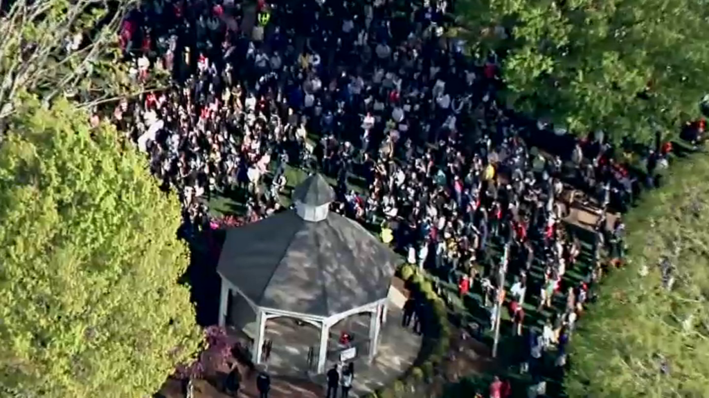 An aerial view of the vigil and rally for Mikayla Miller in Hopkinton, Massachusetts, on Thursday, May 6, 2021.
