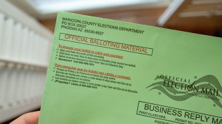 Close-up of 2020 mail in general election ballot for Maricopa County, Arizona