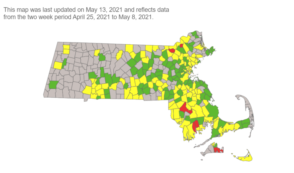 A map showing COVID transmission risk levels in Massachusetts cities and towns on Thursday, May 13, 2021.
